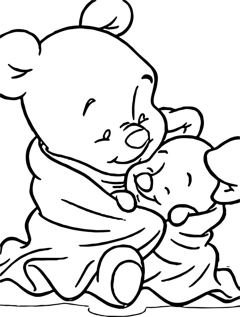 Baby Pooh Piglet Blanket Coloring Page