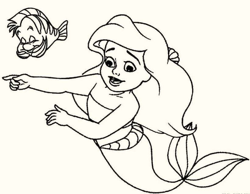 Baby The Little Mermaid Coloring Pages Printable