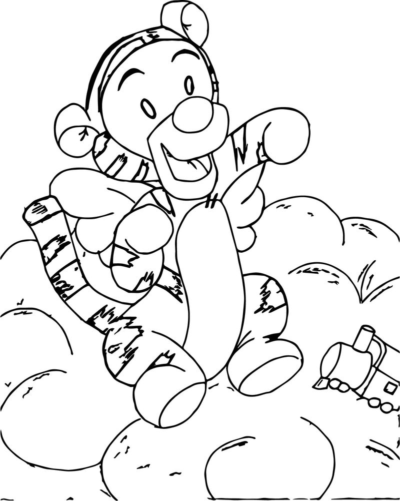 Baby Winnie The Pooh Playing Train Coloring Page
