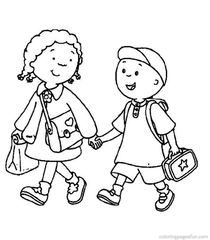 Back To School Coloring Pages Walking To School 001