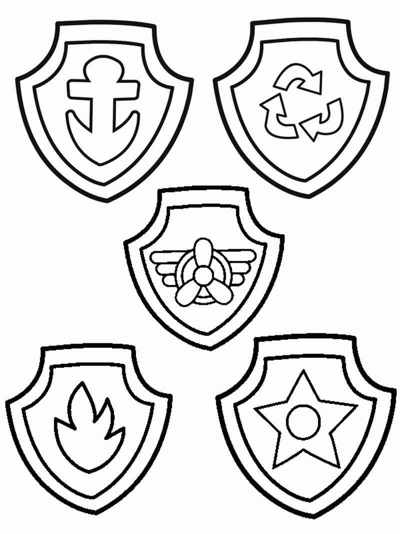 Badges Paw Patrol Coloring Pages