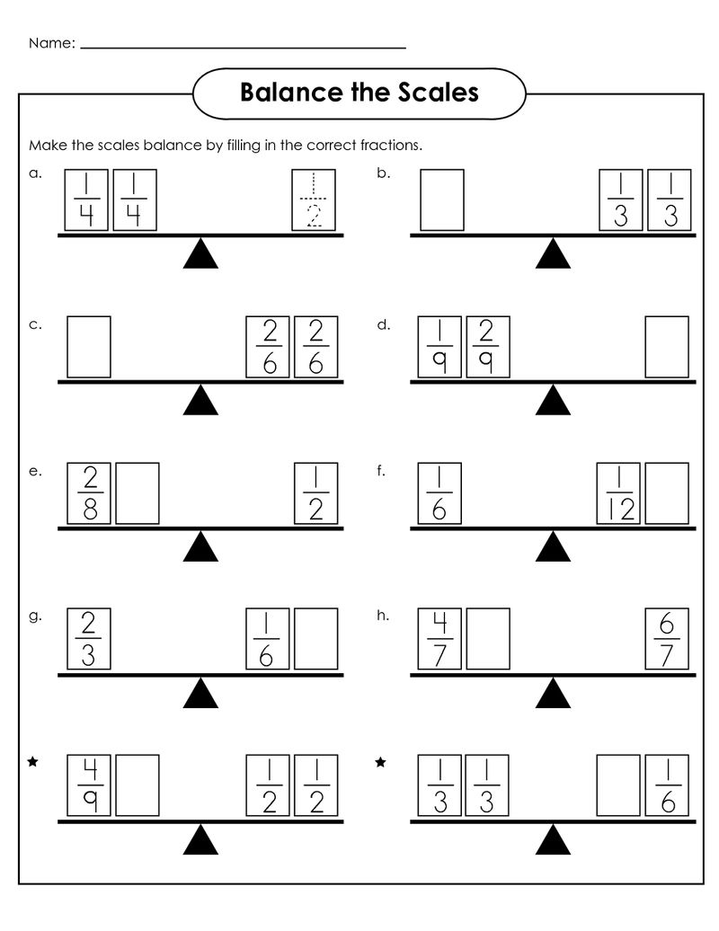 Balance Scale Worksheet For Student