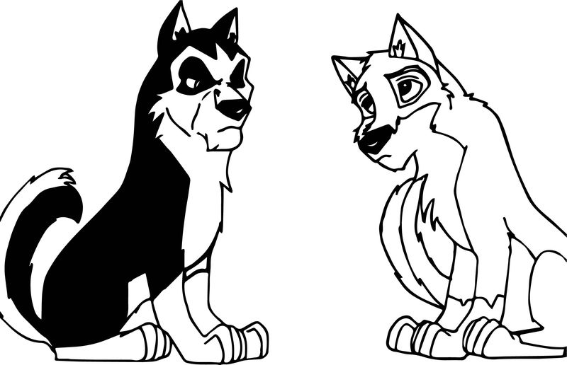 Balto And Steele Wolf Coloring Page 001