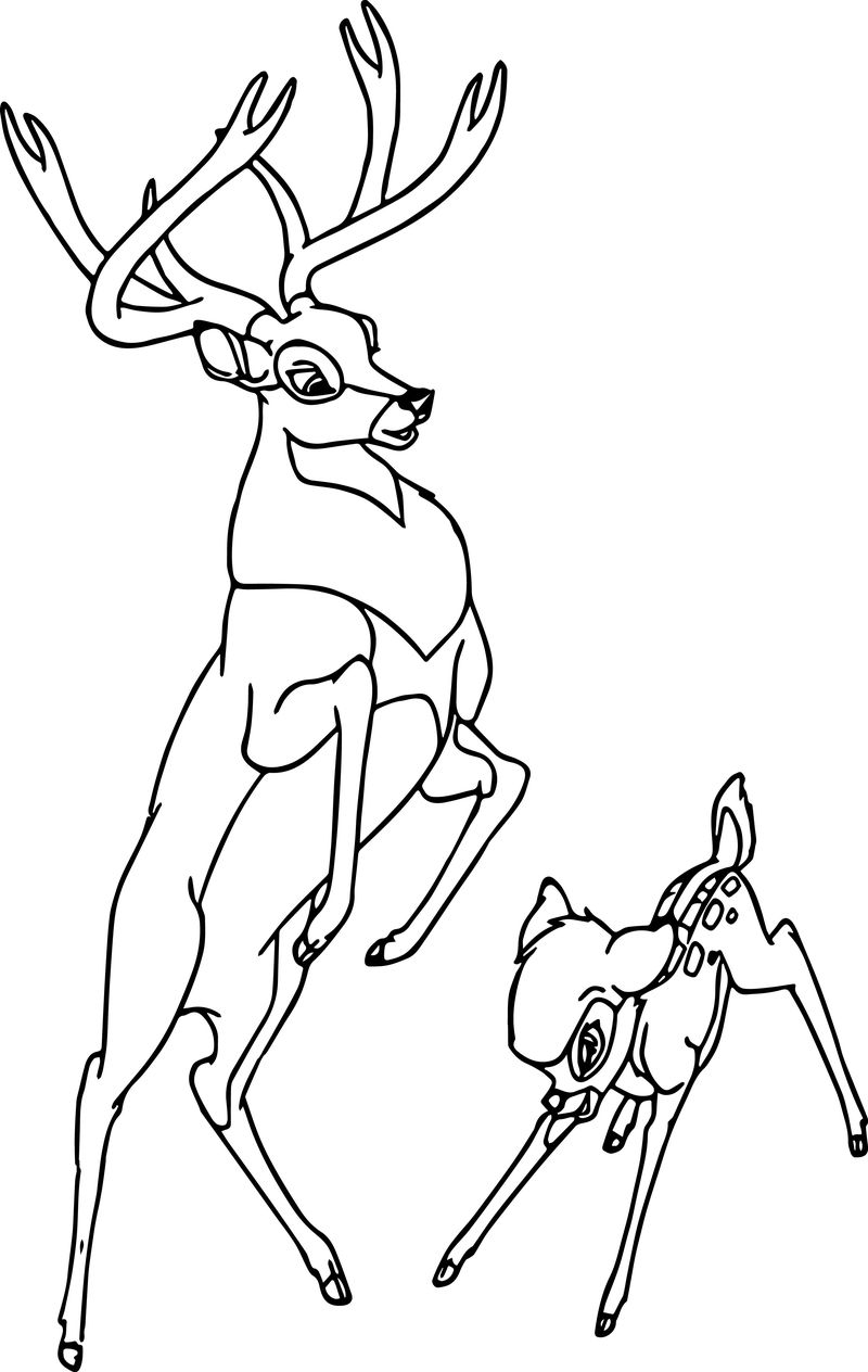 Bambi And The Great Prince Of The Forest Play Coloring Page