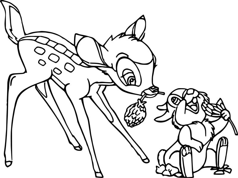 Bambi Flower Thumper Coloring Pages