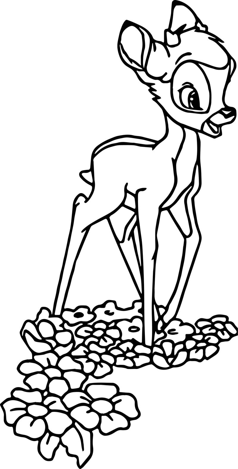 Bambi On Flowers Coloring Pages