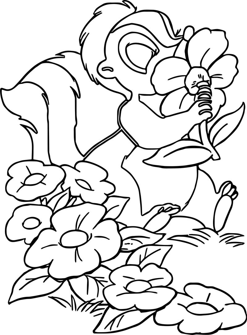 Bambi S Flower The Skunk Flower Nose Coloring Pages
