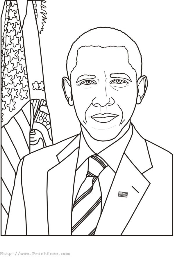 Barack Obama Presidents Day Coloring Page
