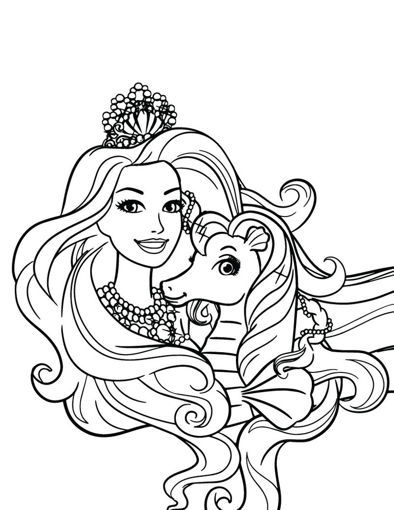 Barbie And Horse Barbie Princess Coloring Pages