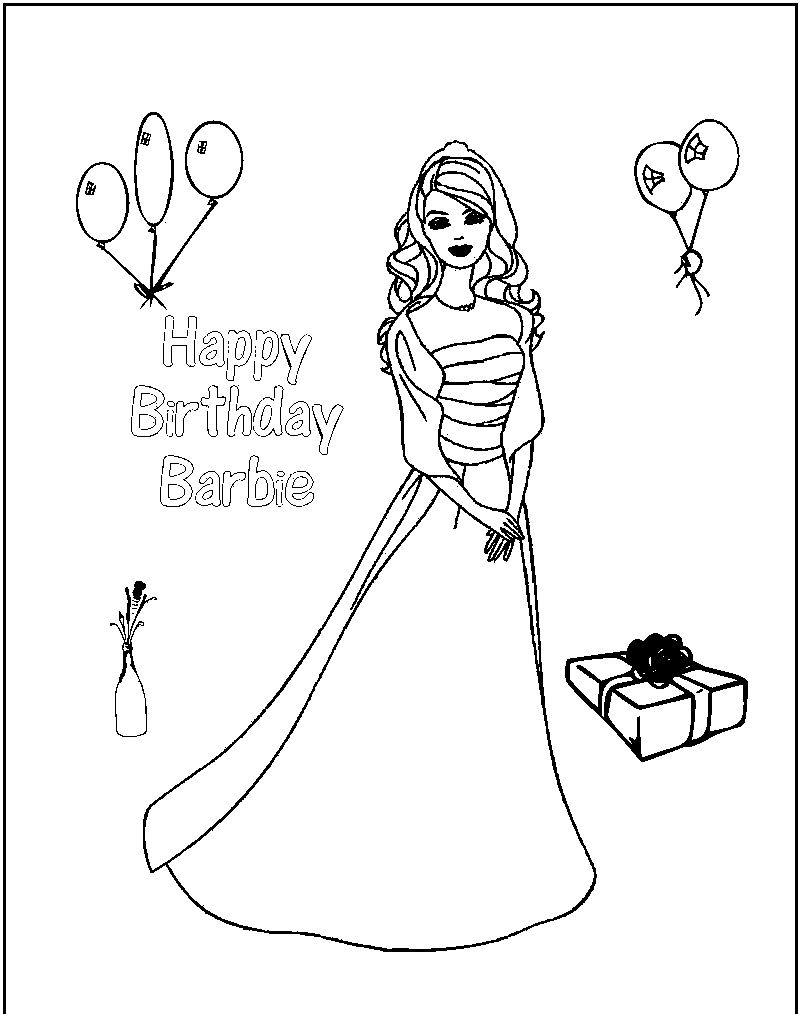 Barbie Birthday Coloring Pages