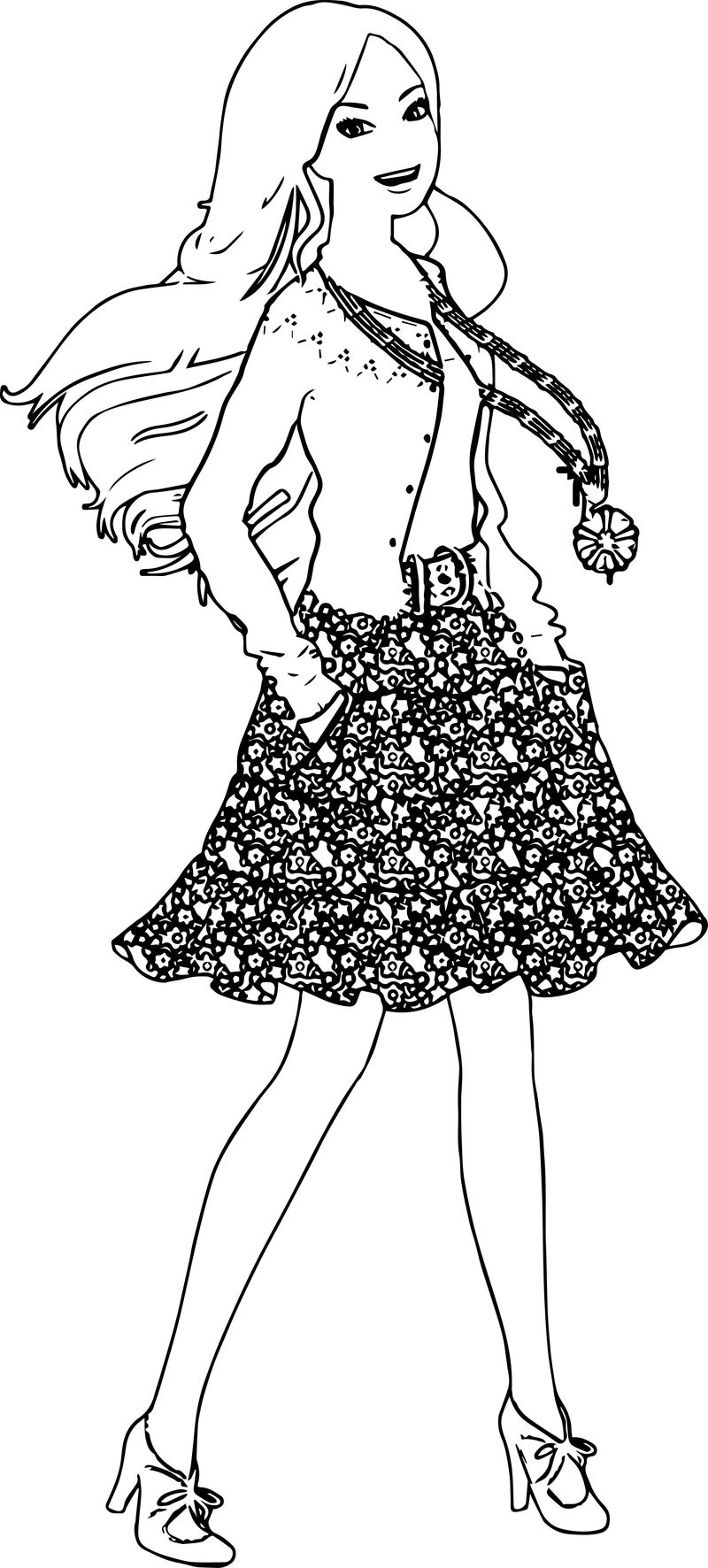 Barbie Coloring Pages Barbie Happy Coloring Page