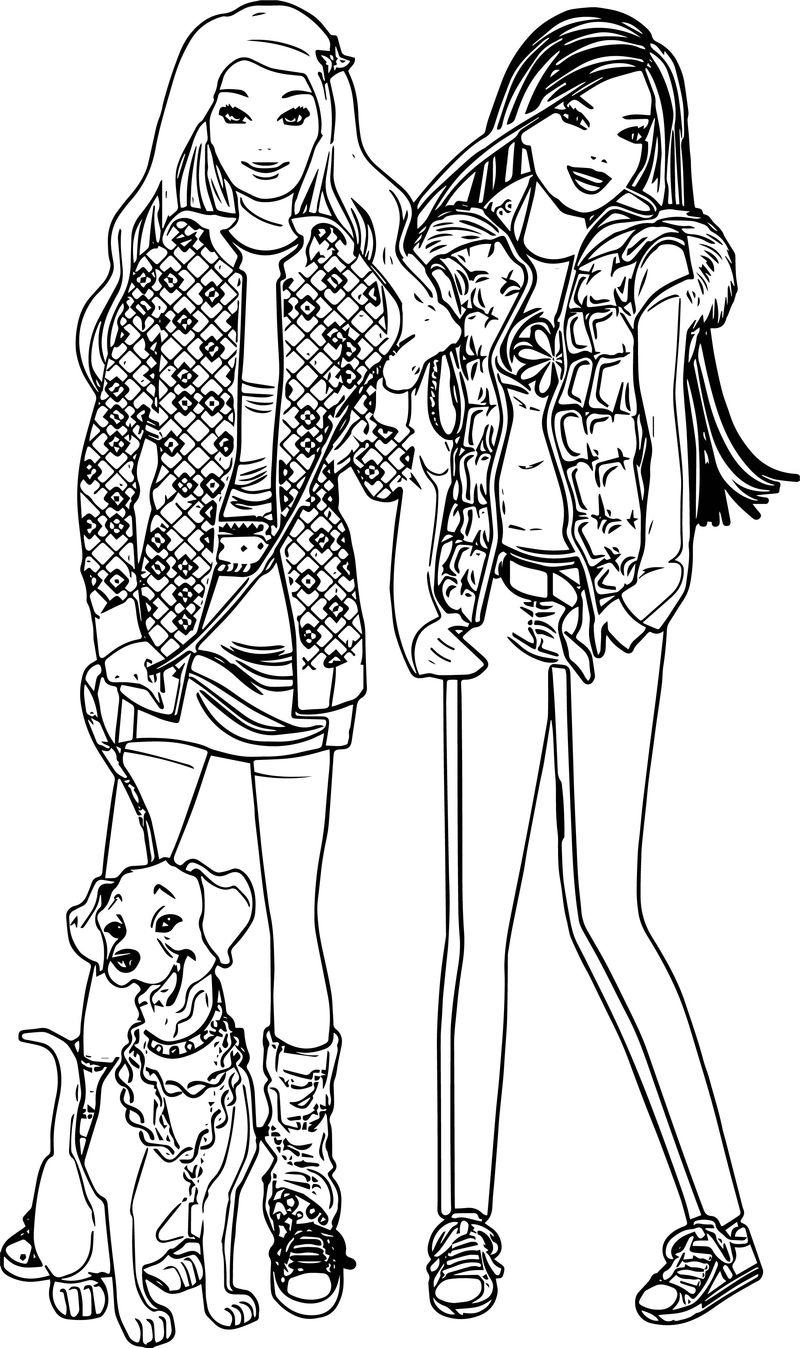 Barbie Dog And Friend Coloring Page