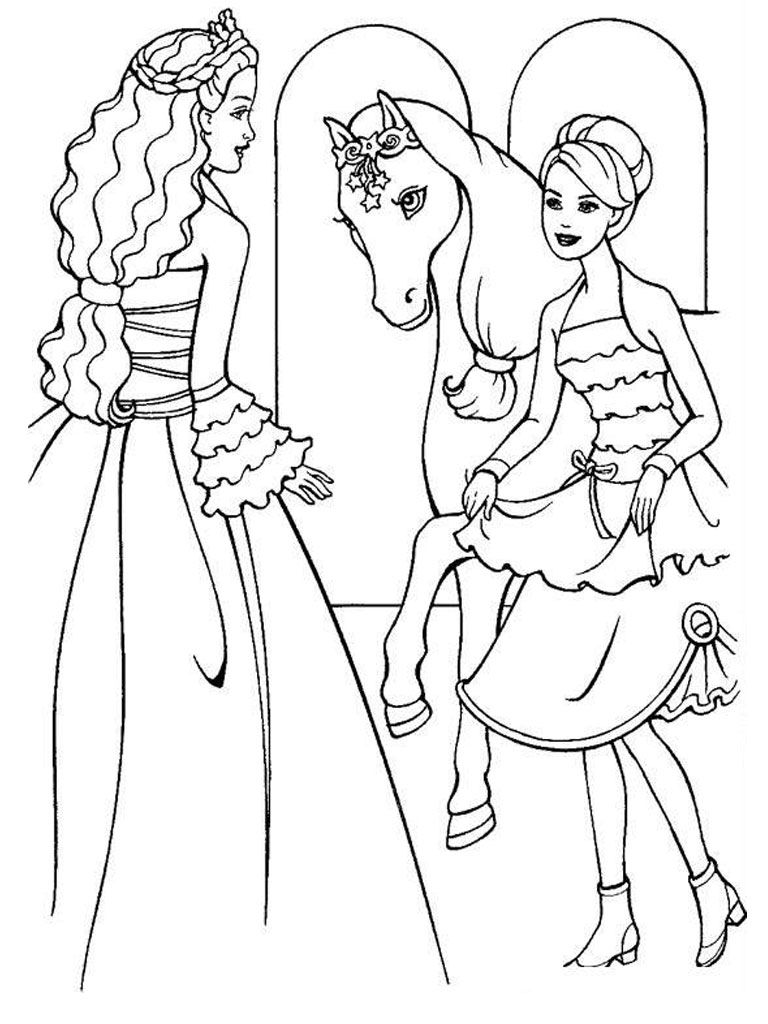 Barbie Horse Coloring Pages