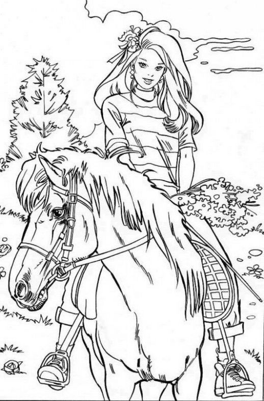 Barbie Horse Coloring Picture