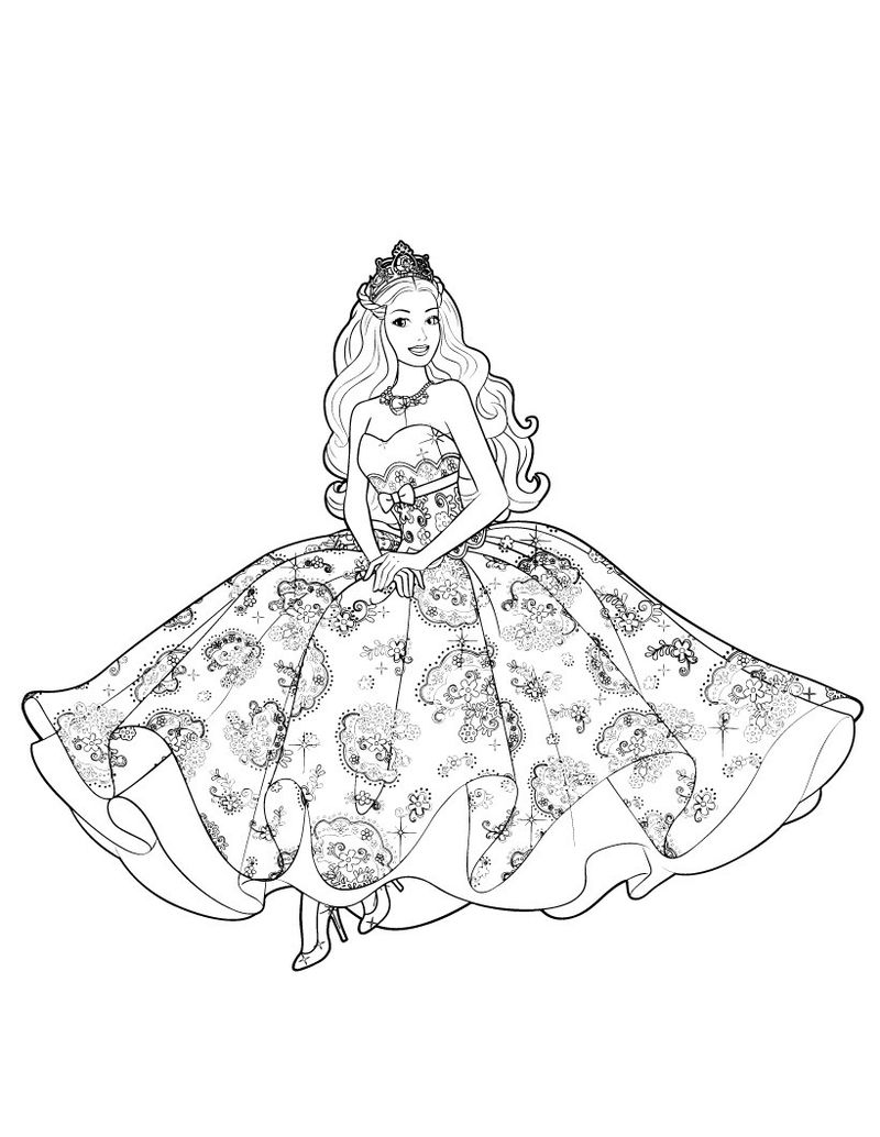 Barbie Princess Gown Coloring Page