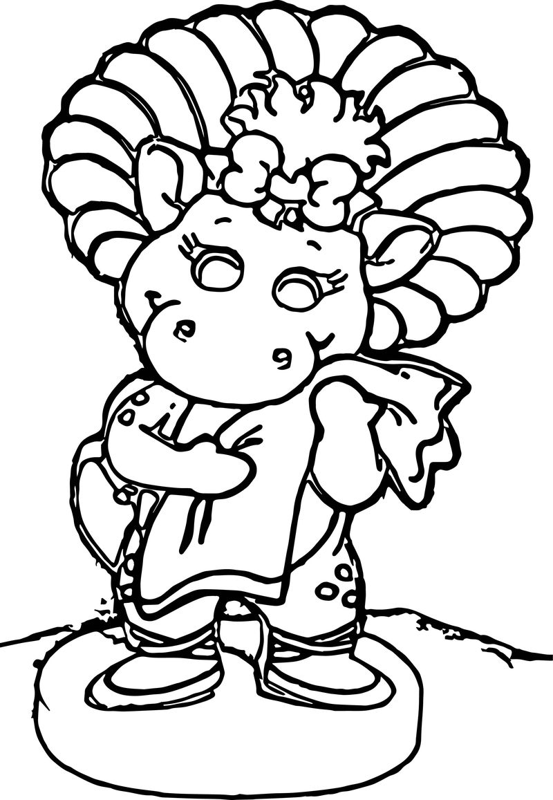 Barney baby bop birthday party centerpiece and party supplies coloring page