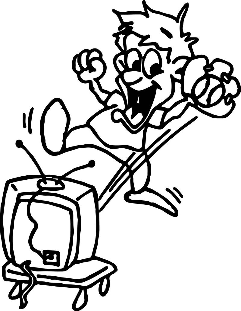 Baseball fan playing baseball with television coloring page