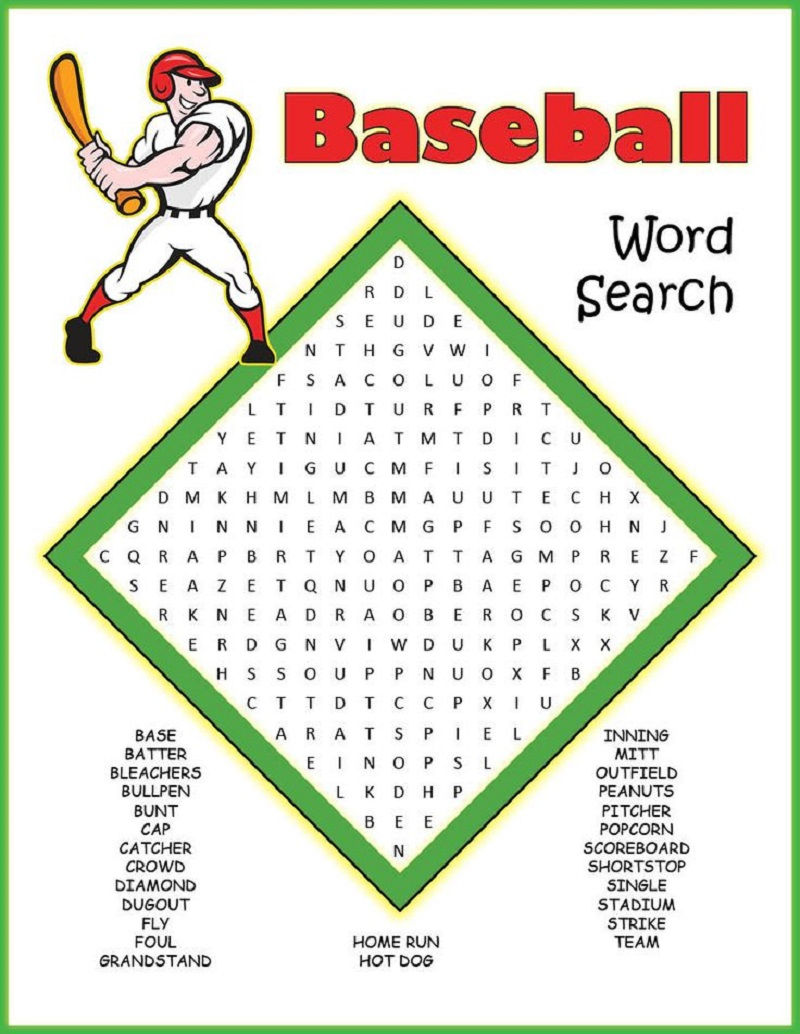 Baseball Word Searches Practice 001