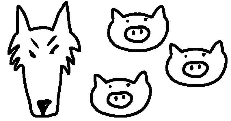 Basic 3 Little Pigs Coloring Page