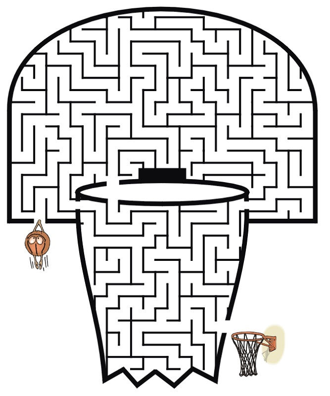 Basketball Activities For Kids Maze