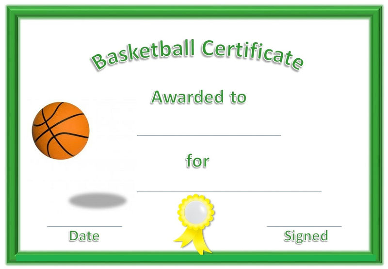 Basketball award certificates green