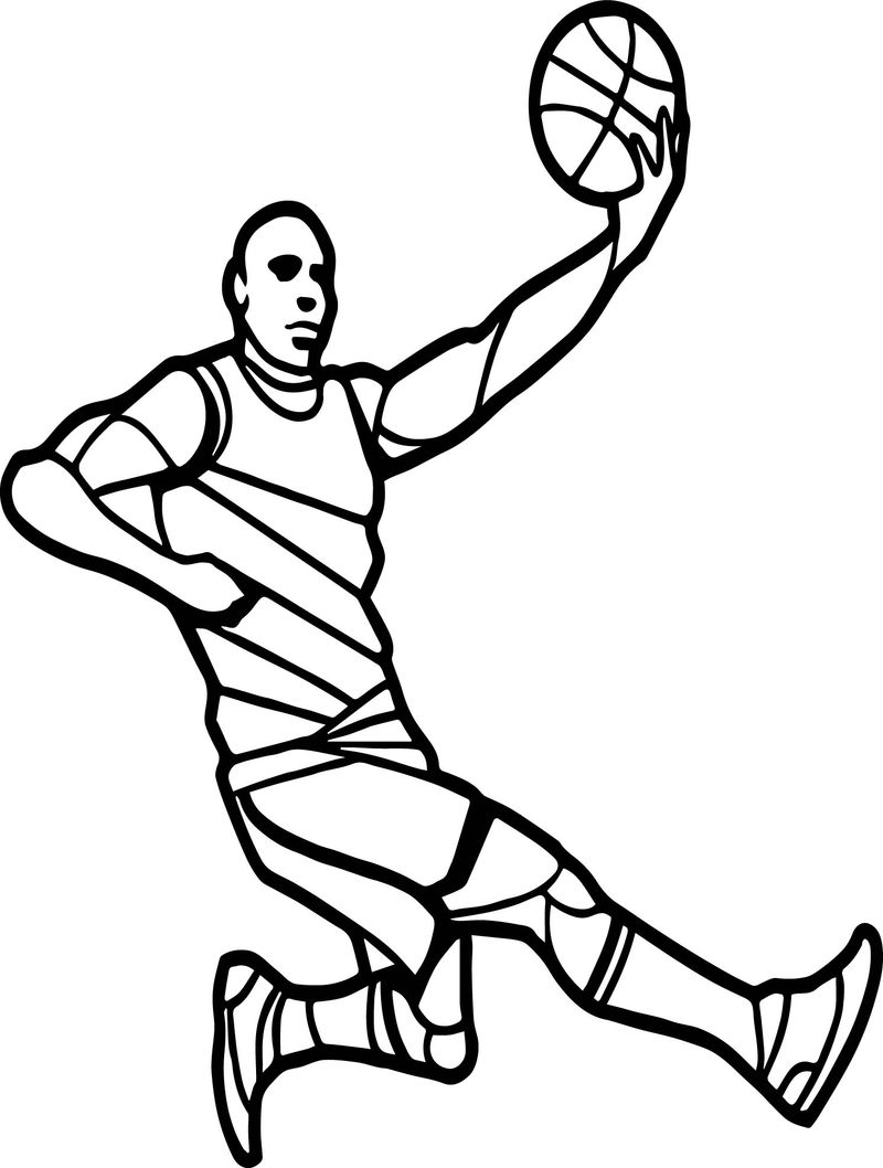 Basketball Player Playing Basketball Flip Shoot Coloring Page