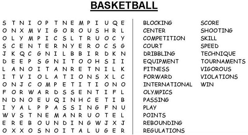 Basketball Word Search Game