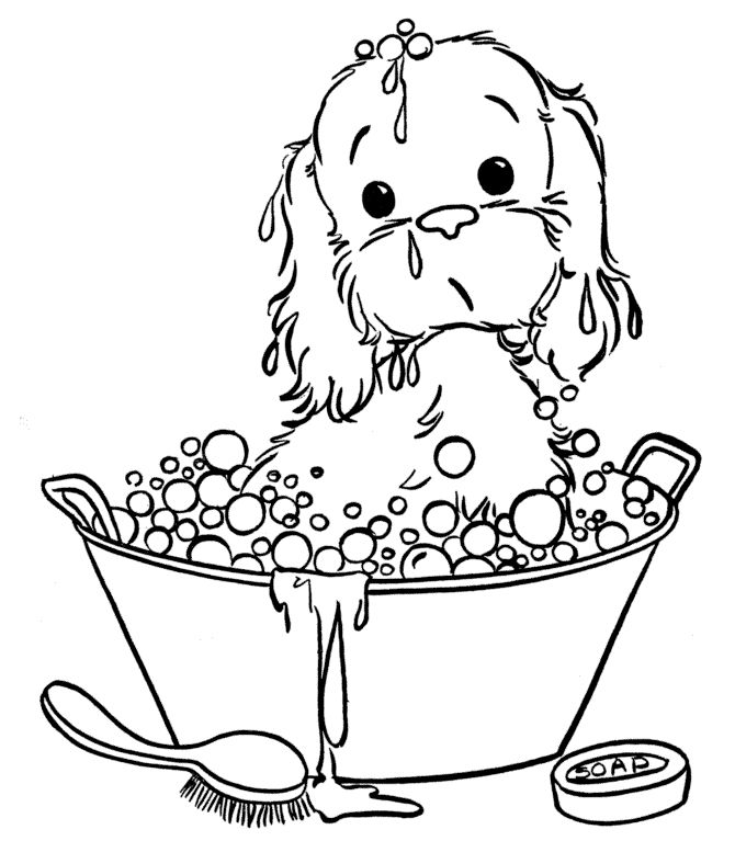 Bathtime Dog Coloring Pages