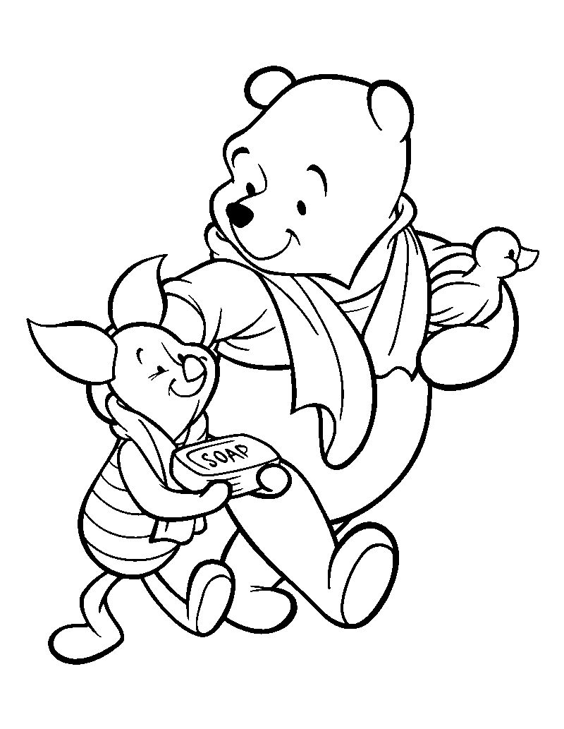 Bathtime Winnie The Pooh And Piglet Coloring Pages