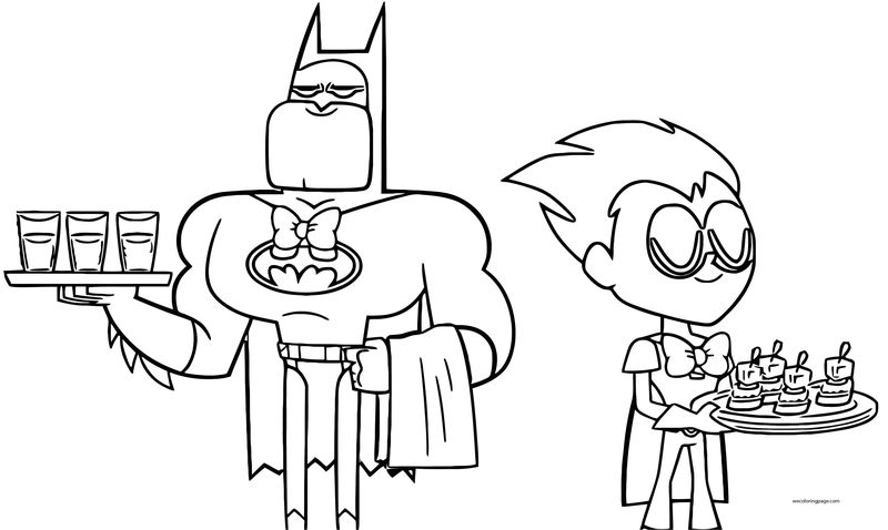 Batman and robin as hosts coloring page