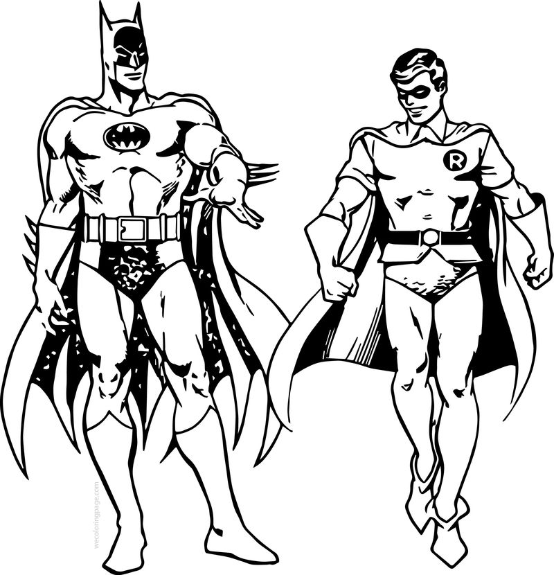 Batman And Robin Walking Coloring Page