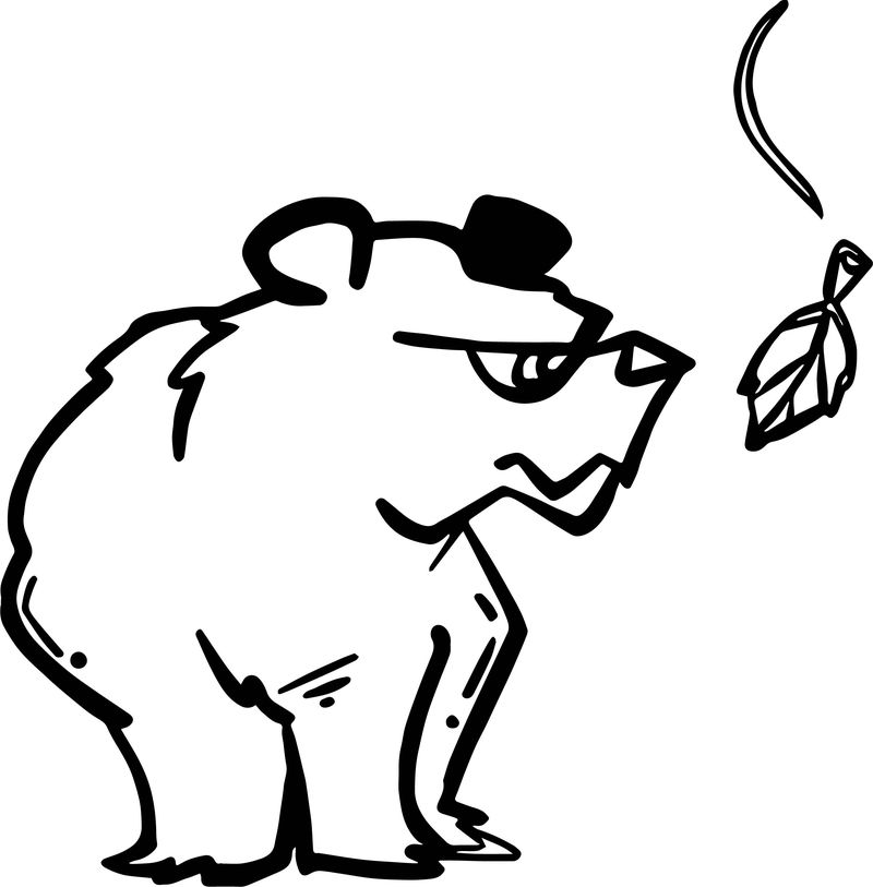 Bear Leaf Coloring Page