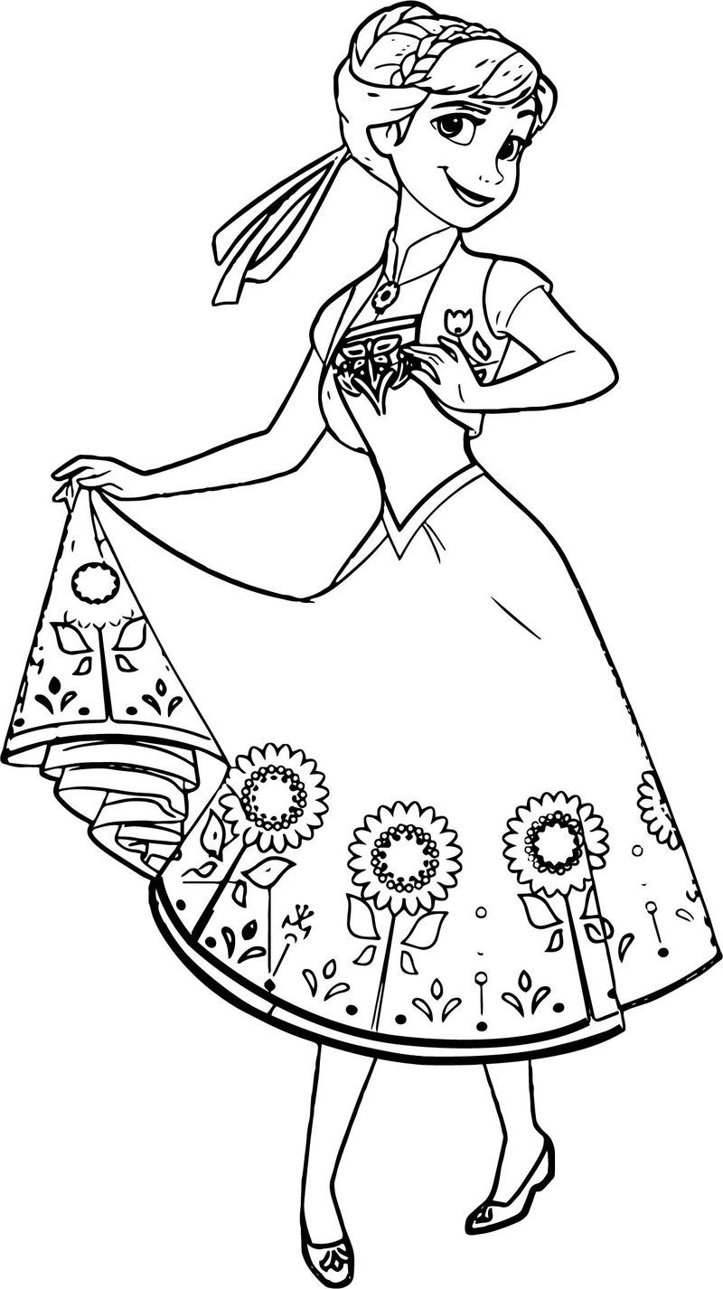 Beautiful Anna Flower Skirt Coloring Page