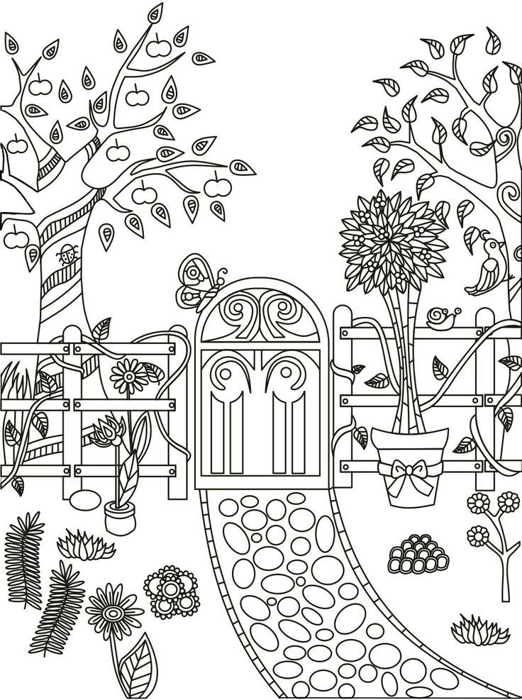 Beautiful Garden Path Coloring Page