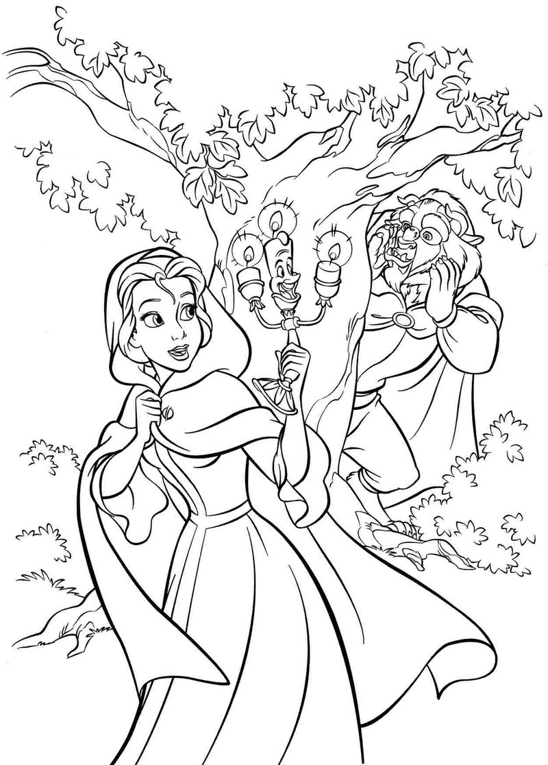 Beauty And The Beast Disney Princess Coloring Pages