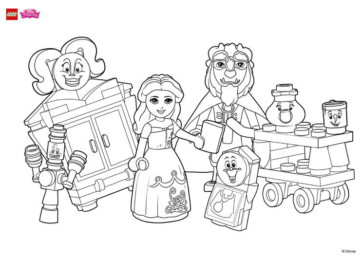 Beauty And The Beast Lego Coloring Page
