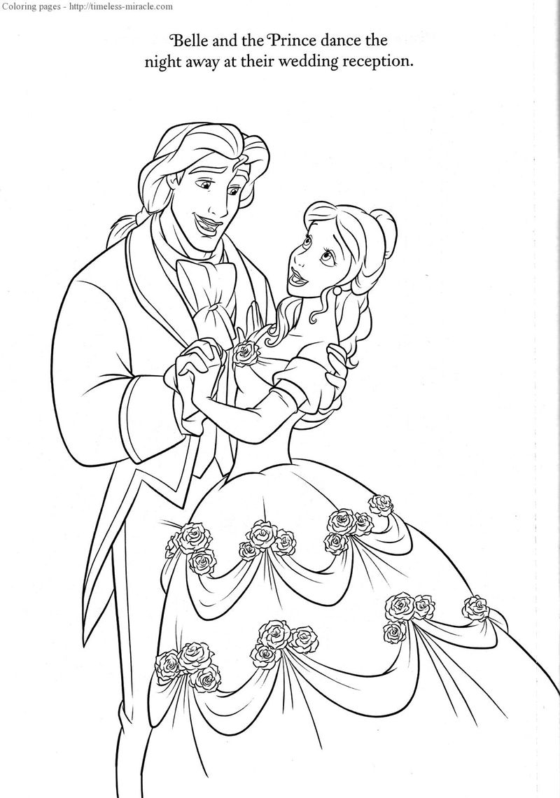 Beauty And The Beast Wedding Coloring Page