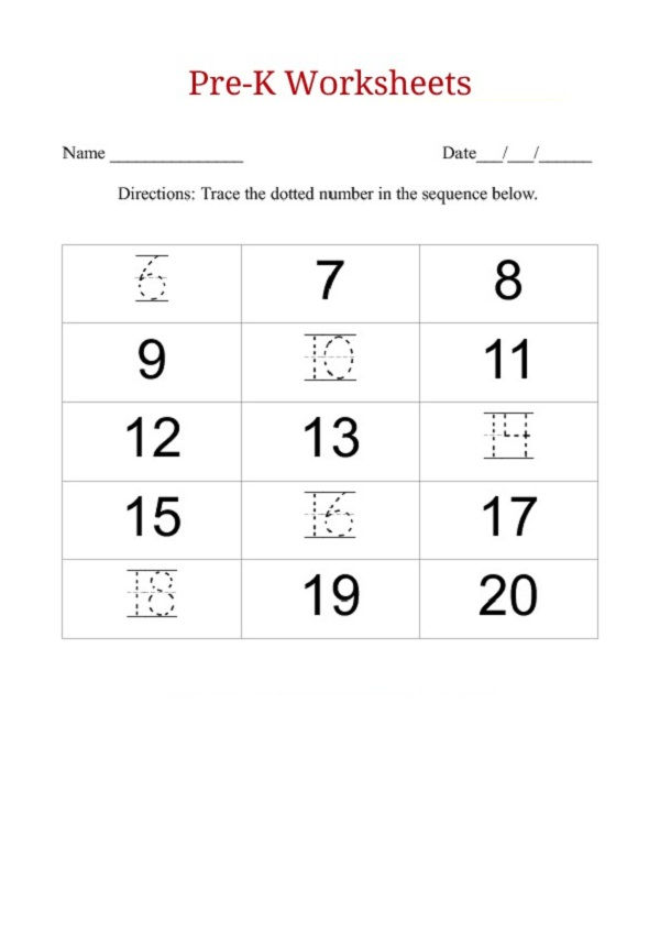 Before And After Number Worksheets Preschool 001