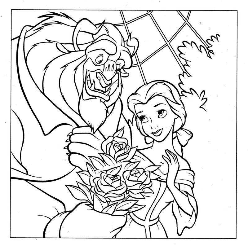 Belle and beast disney princess coloring pages