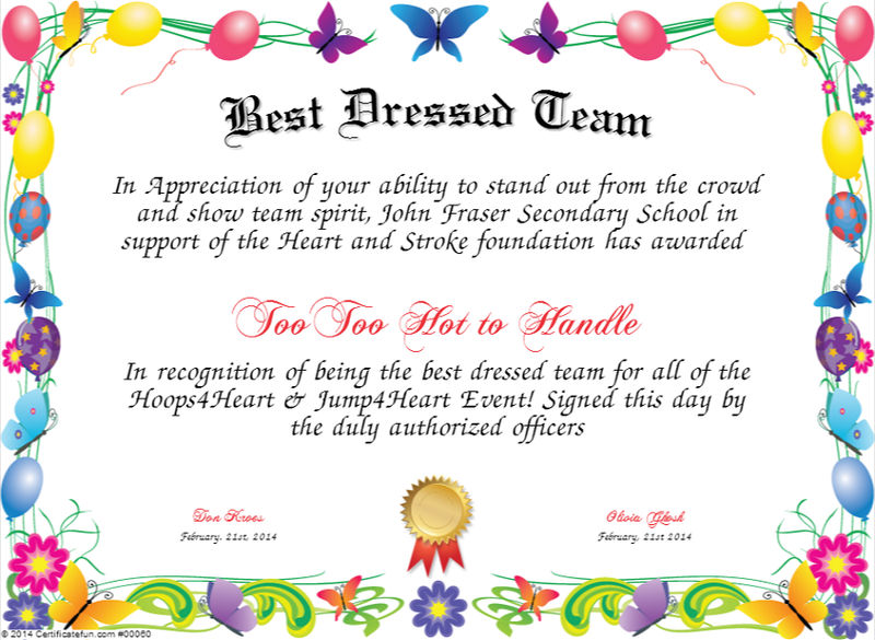 Best Dressed Award Certificate Colorful 001