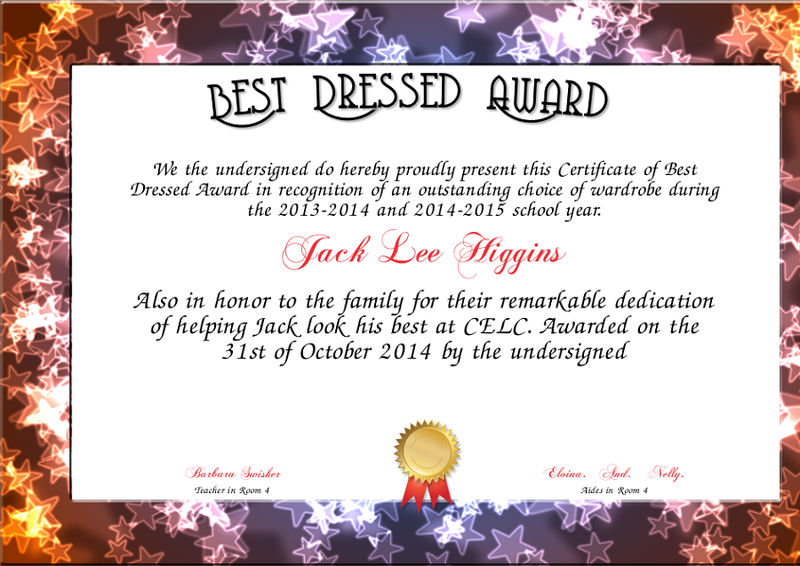 Best Dressed Award Certificate Free 001