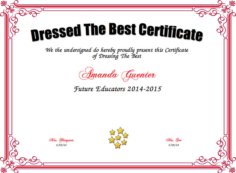Best Dressed Award Certificate Red 001