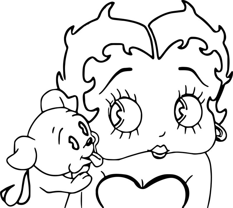 Betty Boop And Dog Coloring Page