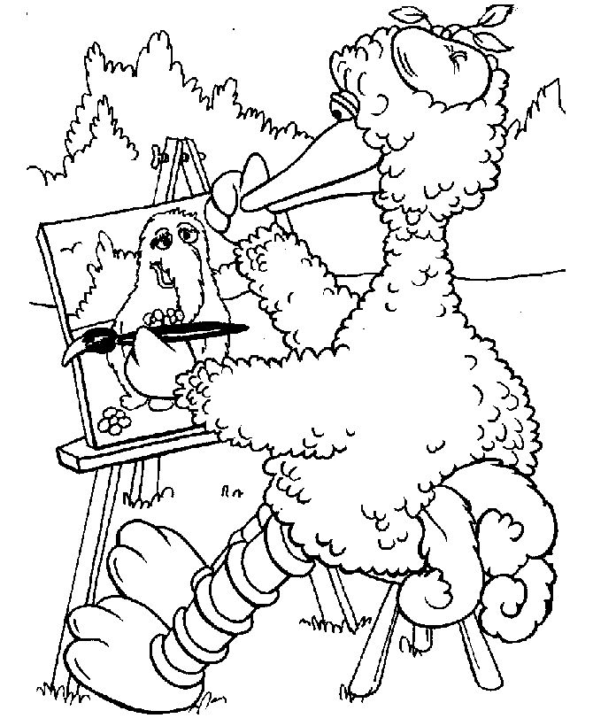Big Bird Painting Sesame Street Coloring Pages
