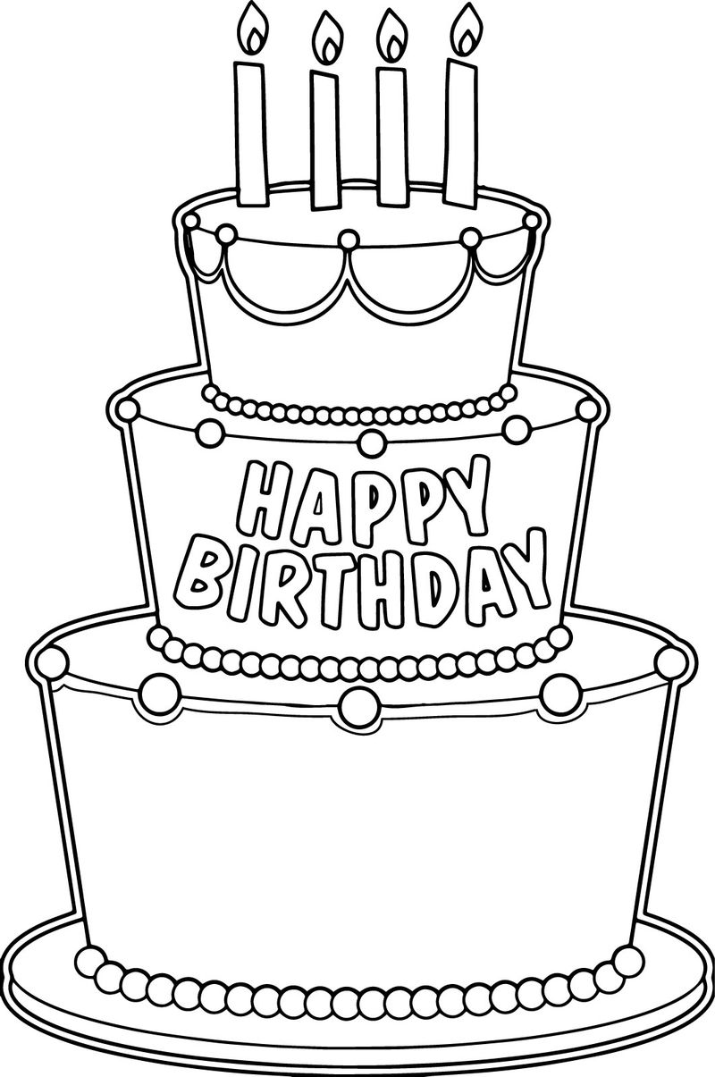 Big Birthday Cake Coloring Page