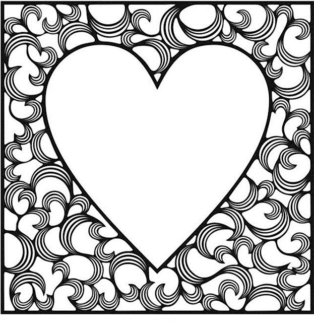 Big Heart Valentines Day Coloring Pages For Adults