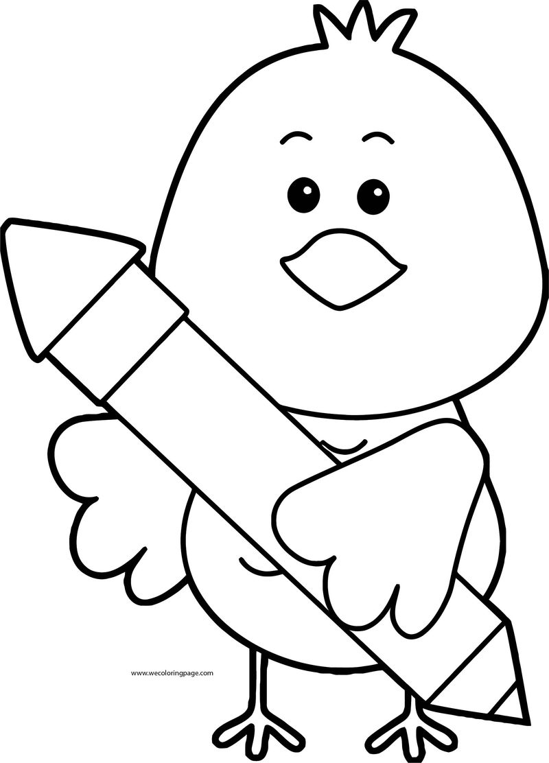 Bird And Pencil Coloring Page 1