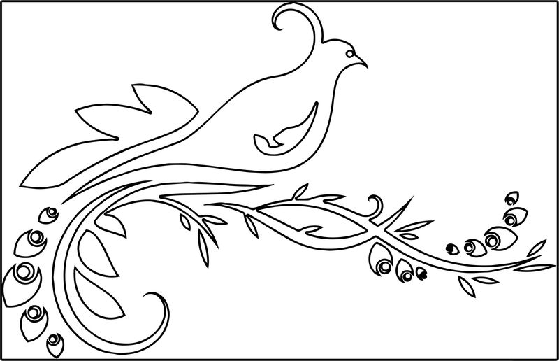 Bird Orn Flowers Coloring Page