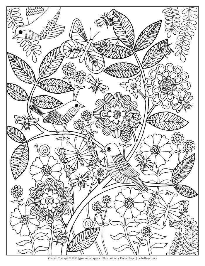 Birds In Flower Garden Coloring Page
