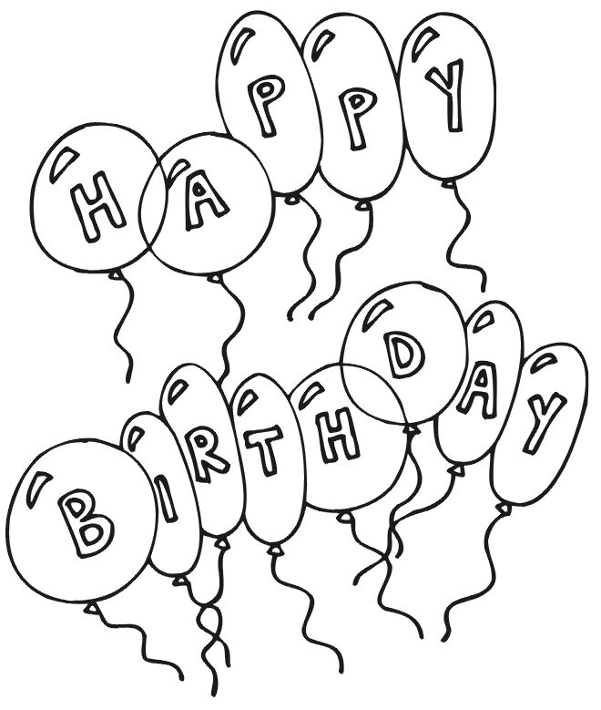 Birthday Balloon Coloring Page